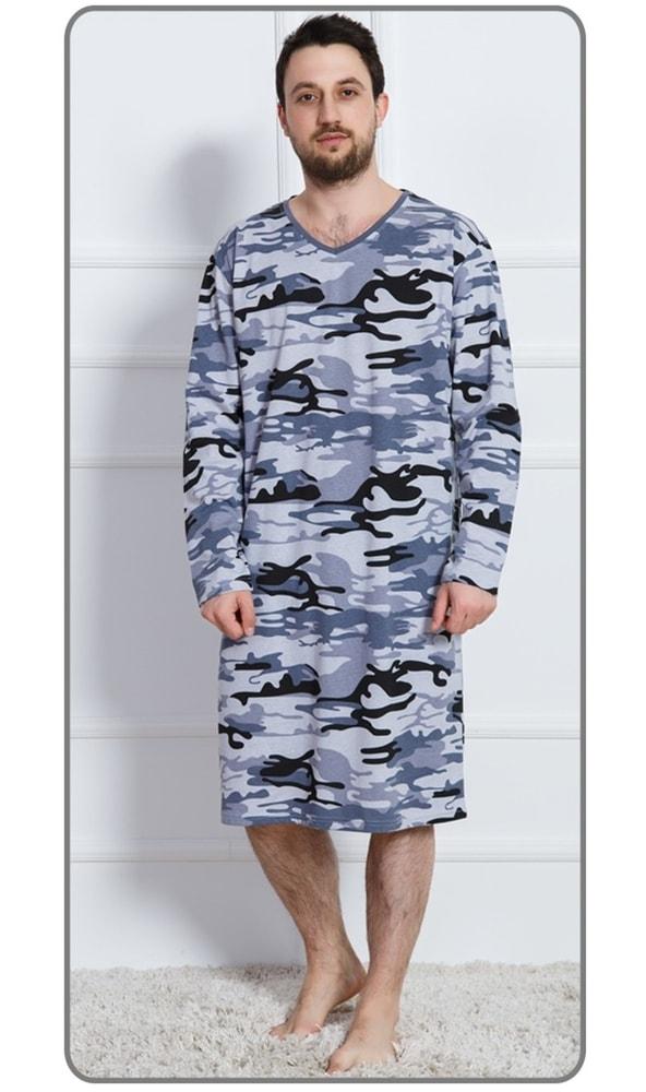 1028473c1d0 Plavky-Pradlo.cz - Pánská noční košile s dlouhým rukávem Army - šedá ...