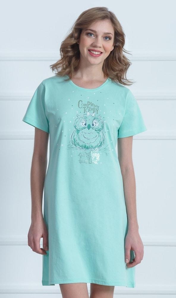 99fd4e21f20 Dámská noční košile s krátkým rukávem VIENETTA Sova a hvězdy - mentolová