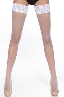 Bas Bleu BAS-LUCREZIA-WHITE: Samodržící punčochy BAS BLEU Lucrezia